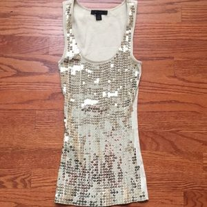 NWOT Express Gold Sequin Ribbed Tank Top
